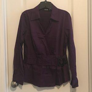 Apt 9 NWT Faux Wrap Long-Sleeve Shirt